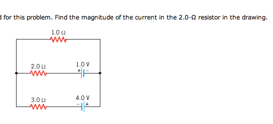Find the magnitude of the current in the 2.0-Ohm r