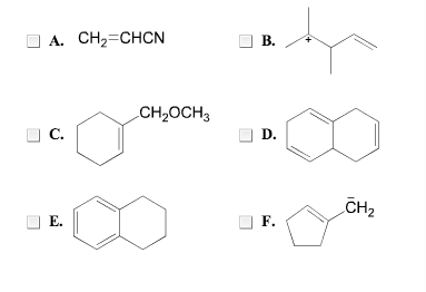 Which of the following systems are conjugated? Sel