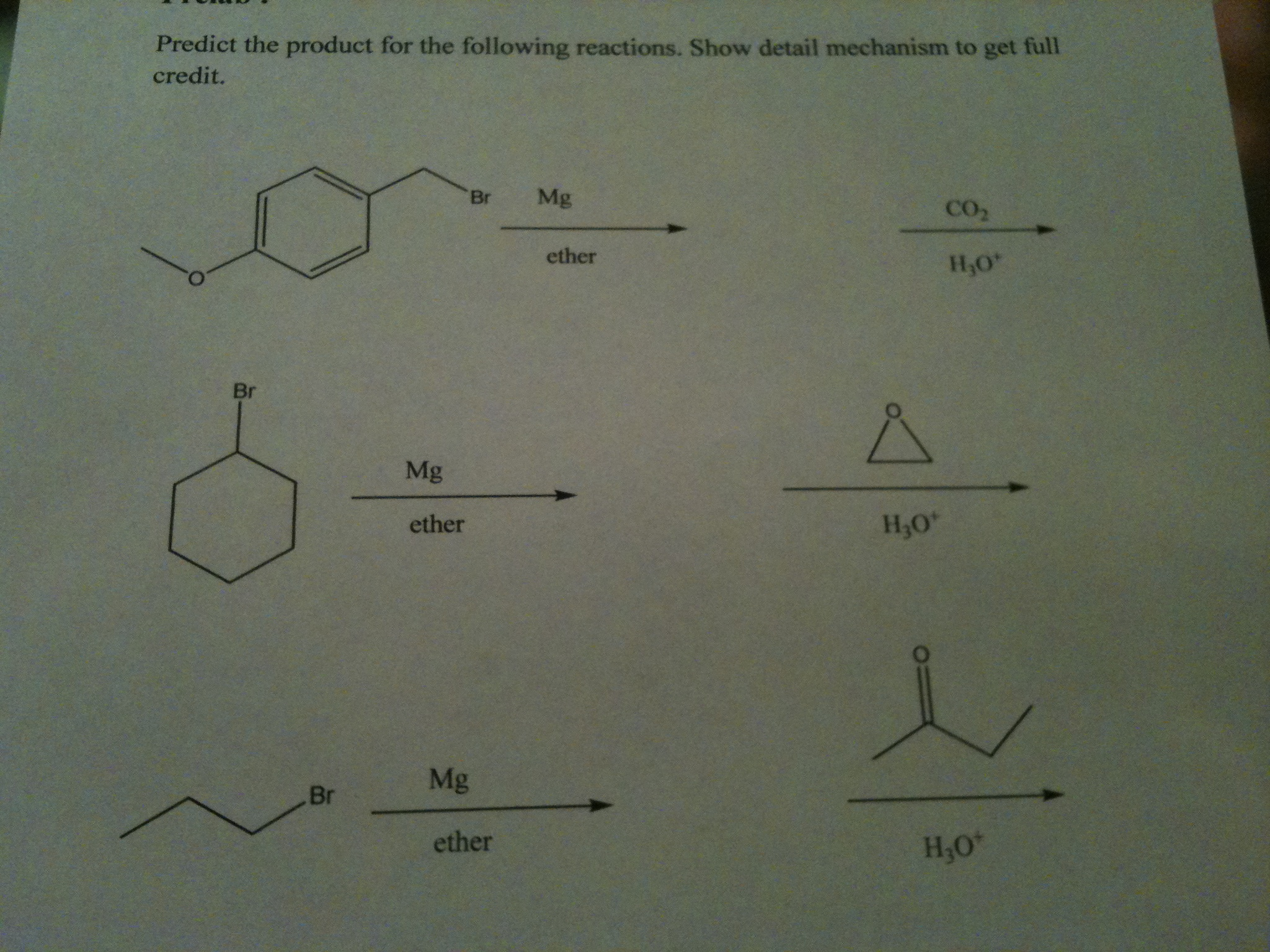 Predict the product for the following reactions. S