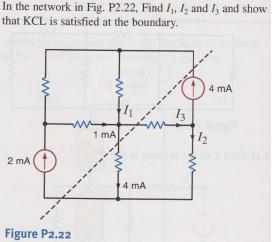 In the network in Fig. P2.22. Find I1, I2 and I3 a