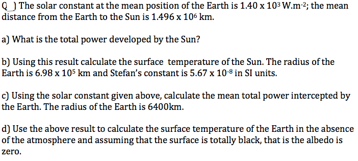 The solar constant at the mean position of the Ear