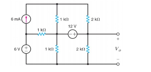 Use the node-voltage method to find Vo
