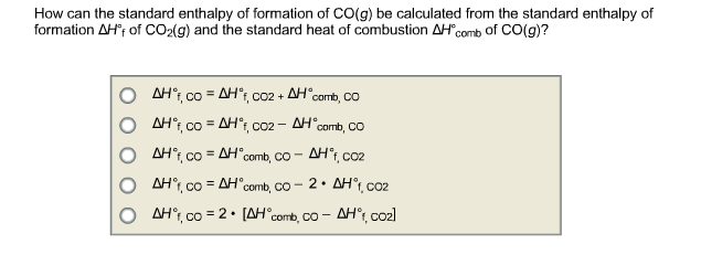How can the standard enthalpy of formation of CO(g