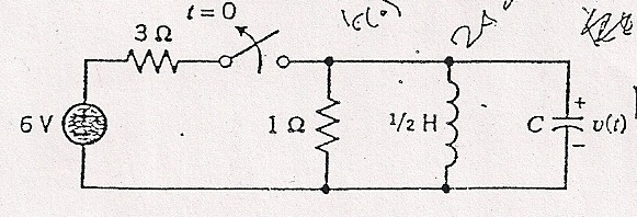 Find the natural response of the 'RLC' circuit (ie