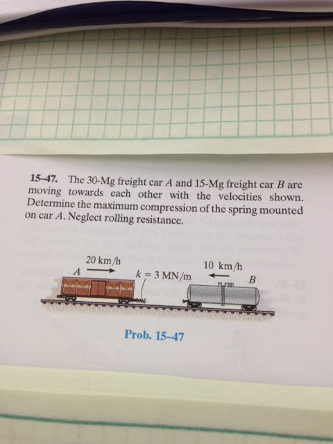 The 30-Mg freight car A and 15-Mg freight car B ar