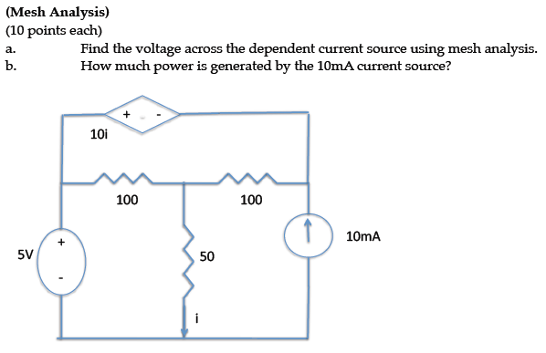 Find the voltage across the dependent current sour