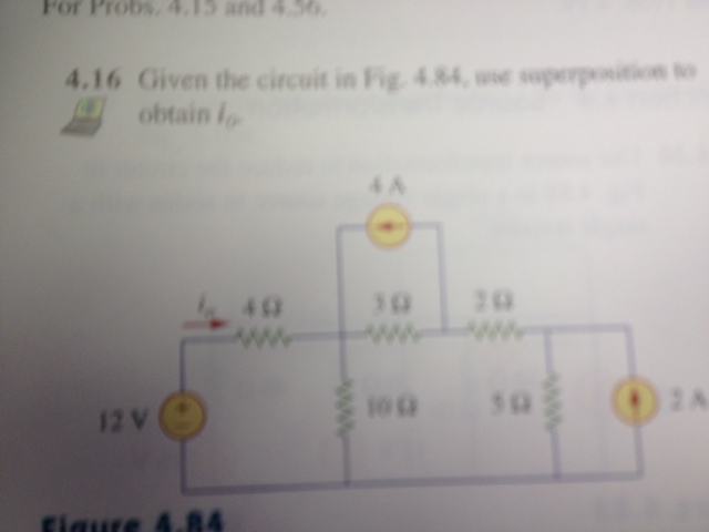 Given the circuit in Fig. 4.84, we obtain I0.