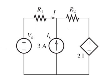 Assume that Vs=13V, R1=2.1 ohms and R2=0.50 ohms.
