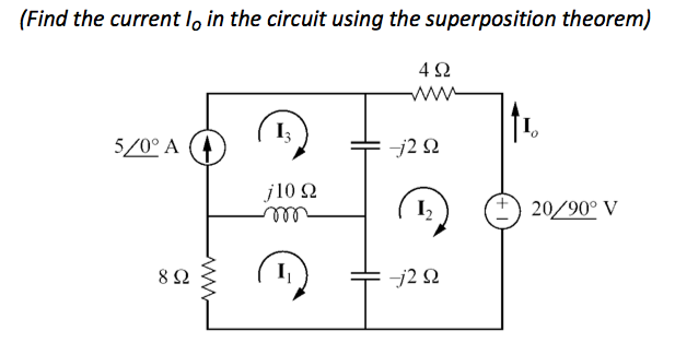 (Find the current I0 in the current using the supe