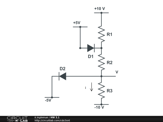 Image for Assume the diodes are ideal. a. Find the voltage V and the current i with R1 = 4kohm, R2 = 2kohm, R3=1kohm b.