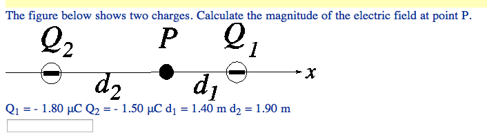 The figure below shows two charges. Calculate the