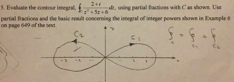 Evaluate the contour integral, using partial frac