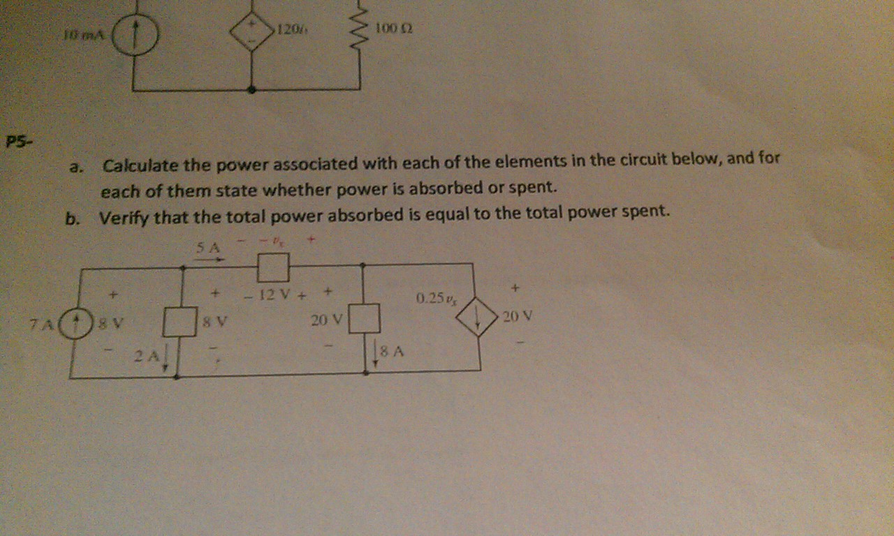 Calculate the power associated with each of the el