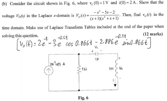Consider the circuit shown in Fig. 6, where vc(0)