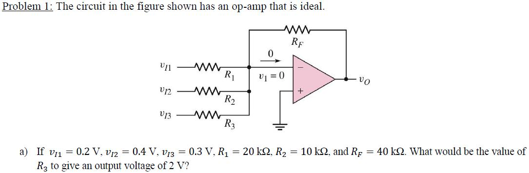The circuit in the figure shown has an op-amp that