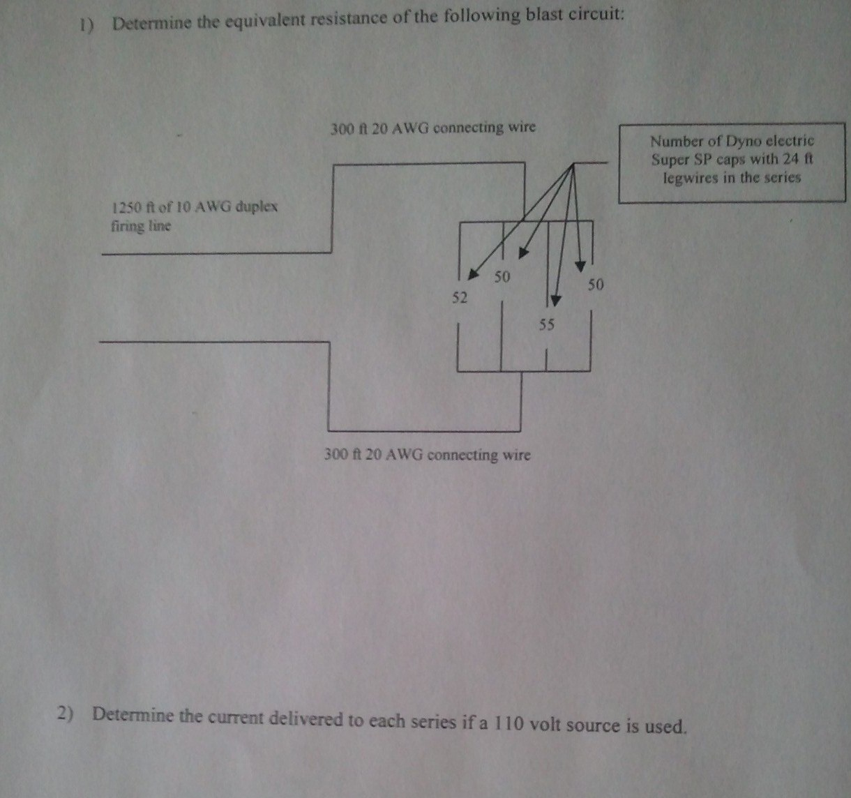 1) Determine the equivalent resistance of the foll