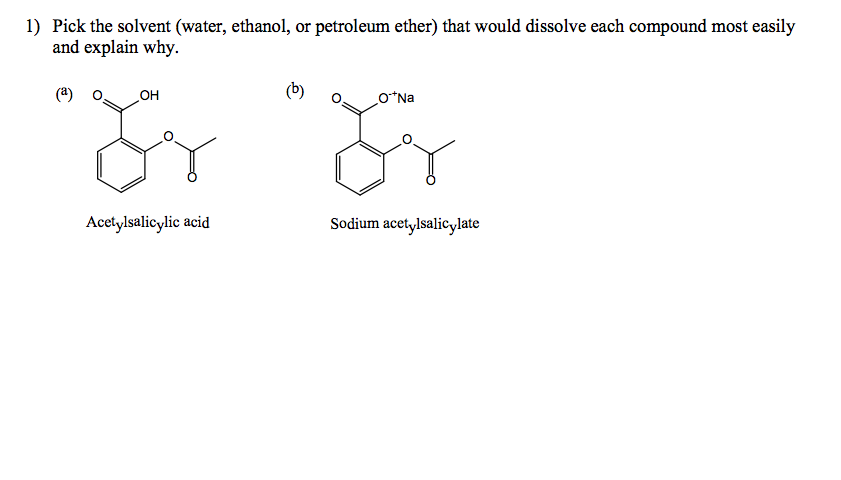 Pick the solvent (water, ethanol, or petroleum eth