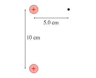 The balls on the figure charged to 8.6nC. What are