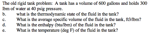 The old rigid tank problem: A tank has a volume of
