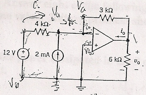 Find Vo and Io for the given op amp.