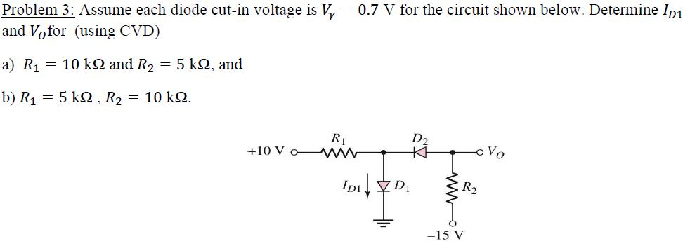 Assume each diode cut-in voltage is V gamma = 0.