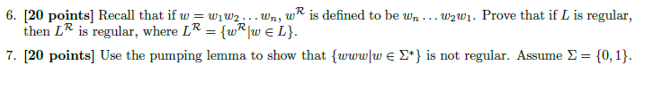 Recall that if w = w1,w2 ... wn, wR is defined to