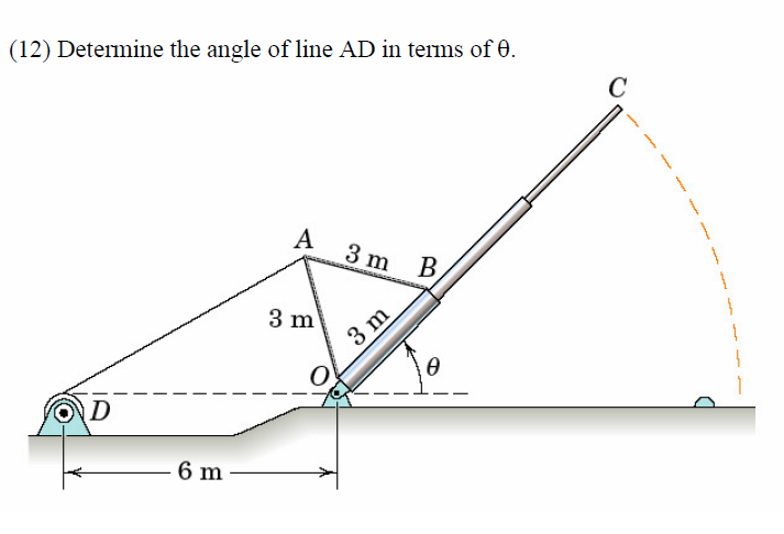 Determine the angle of line AD in terms of theta.