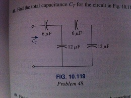 Find the total capacitance C for the circuit in F