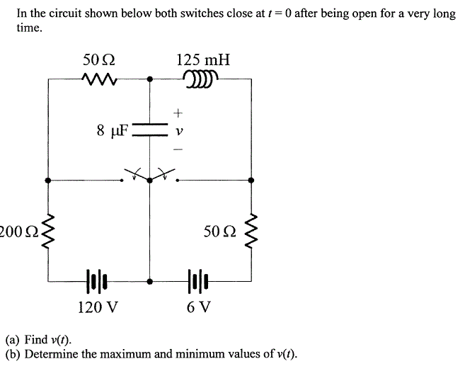 In the circuit shown below both switches close at