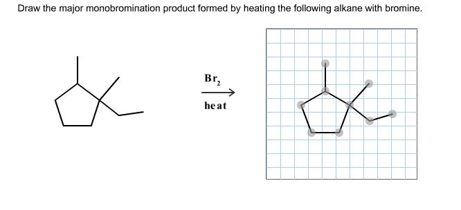Draw the major monobromination product formed by h