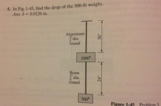In Fig. 1-45, find the drop of the 500-lb weight.