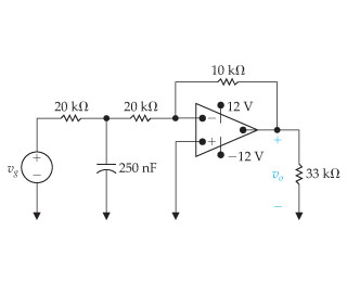 The sinusoidal voltage source in the circuit shown