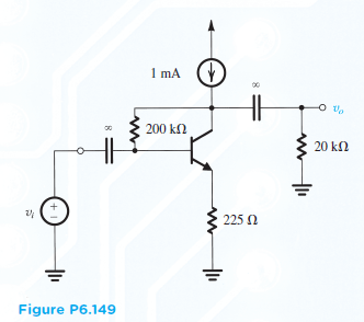 The BJT in the circuit of Fig. P6.149 has Beta = 1