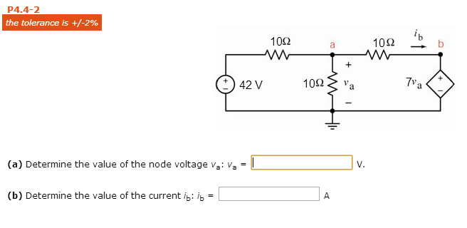 Determine the value of the node voltage va: va =