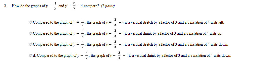 How do the graphs of y = 1/3 and v = 3/x -4 compar