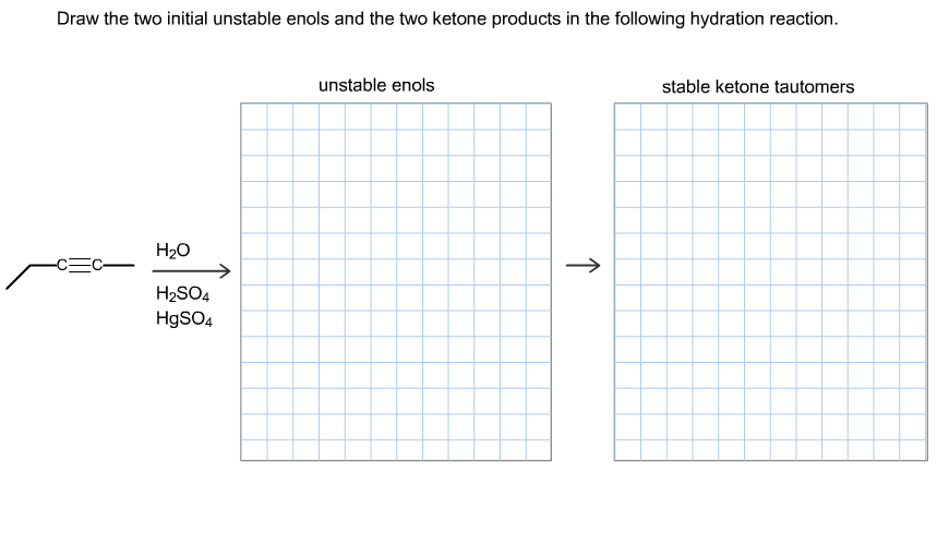 Draw the two initial unstable enols and the two ke