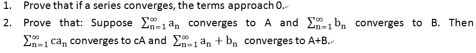 Prove that if a series converges, the terms approa