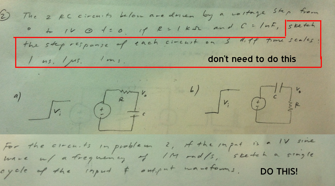 For the circuits in problem 2, if the input is a