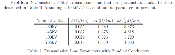 Consider a 345kV transmission line that has parame