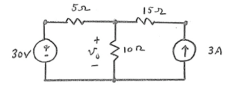 For the circuit shown, the contribution to the out