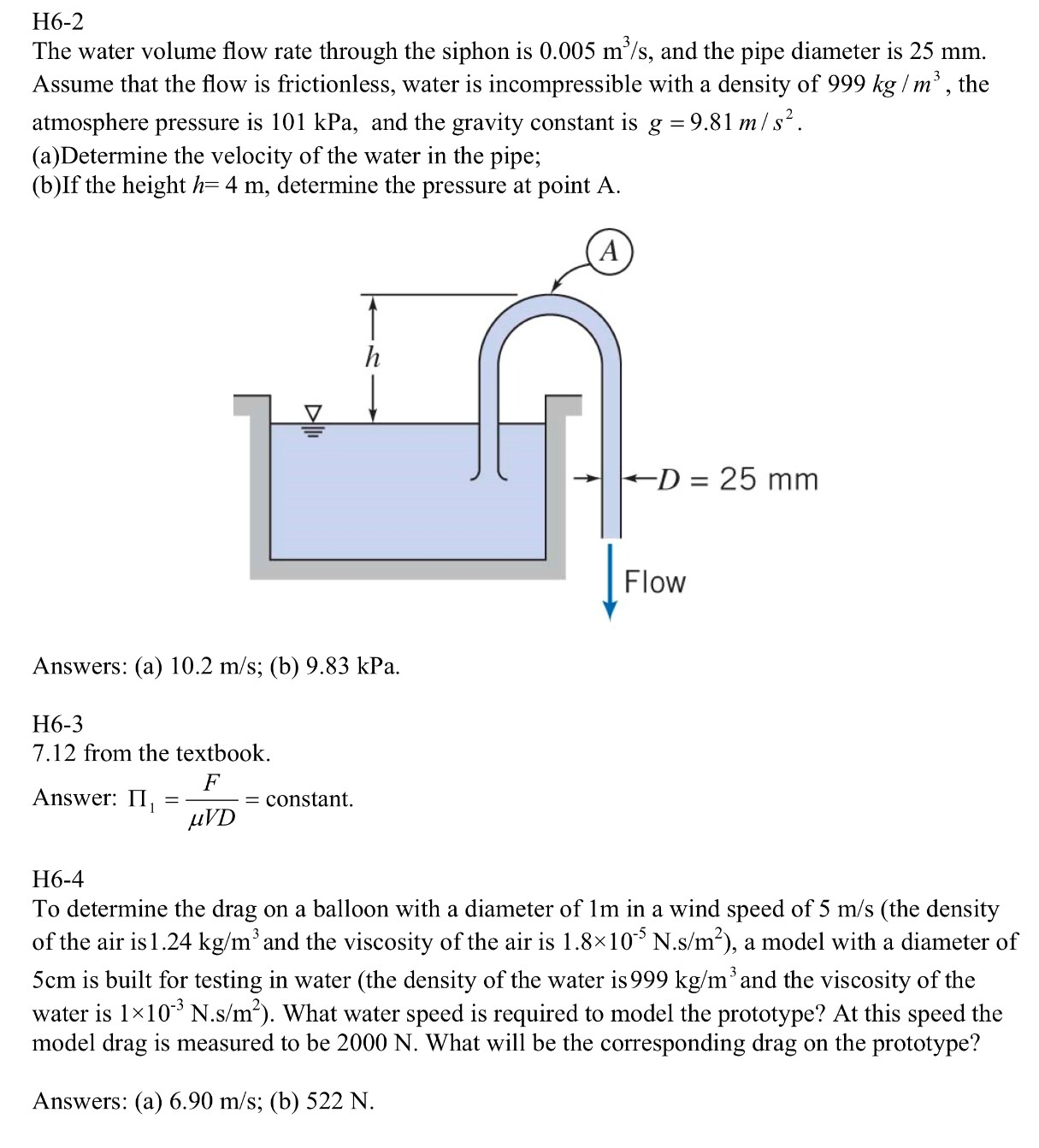 Force Flow Rate Equation: Solved: The Water Volume Flow Rate Through The Siphon Is 0