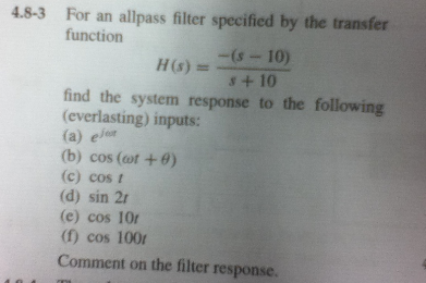 For an allpass filter specified by the transfer fu