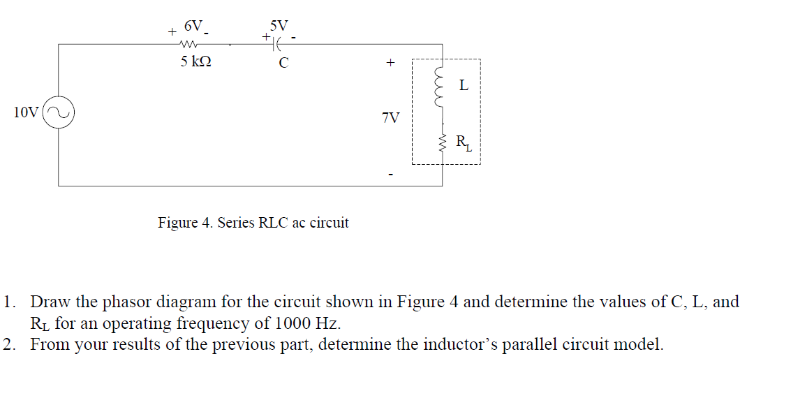 Draw the phasor diagram for the circuit shown in F