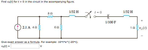 Find vo(t) for t > 0 in the circuit in the accompa