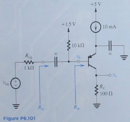 In the circuit shown in Fig. P6.101, the transisto