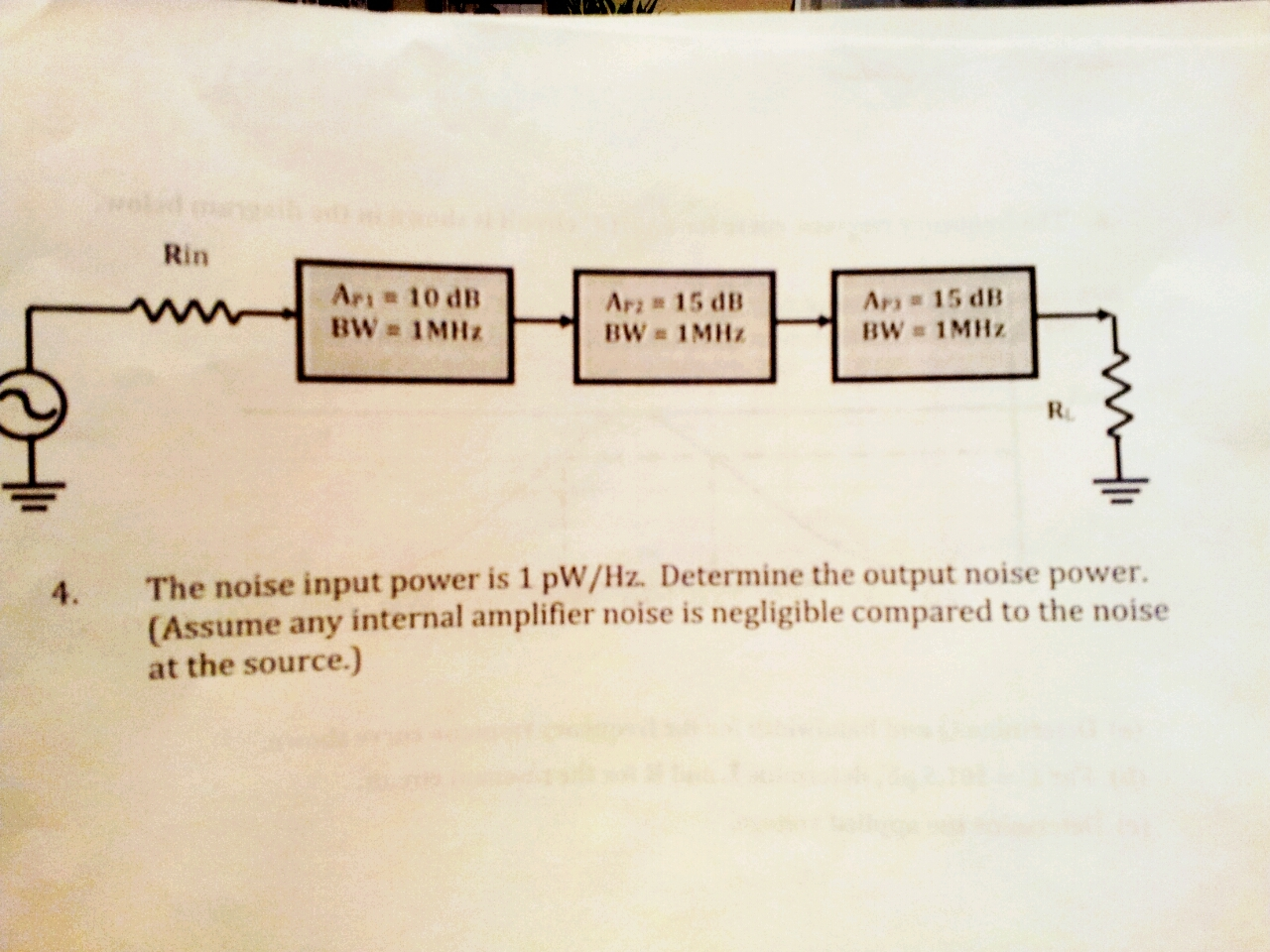 THE NOISE INP 1pW/Hz. DETERMINE THE OUTPUT NOISE P