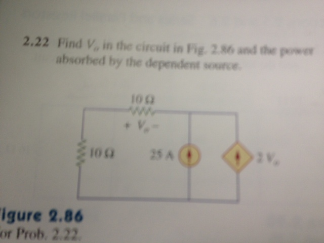 Find V0 in the circuit in Fig. 2.86 and the power