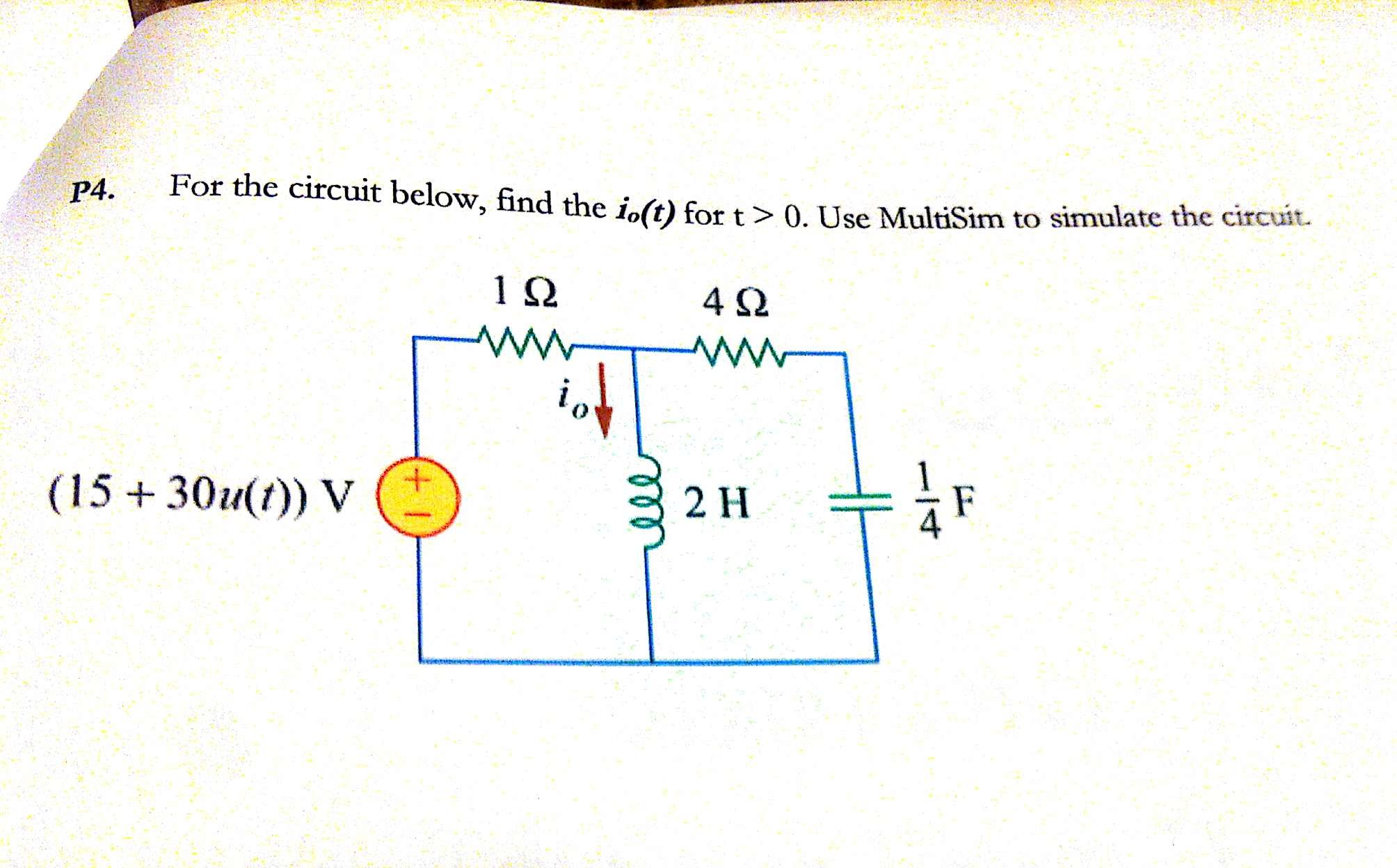 For the circuit below, find the io(t) for t > 0. U