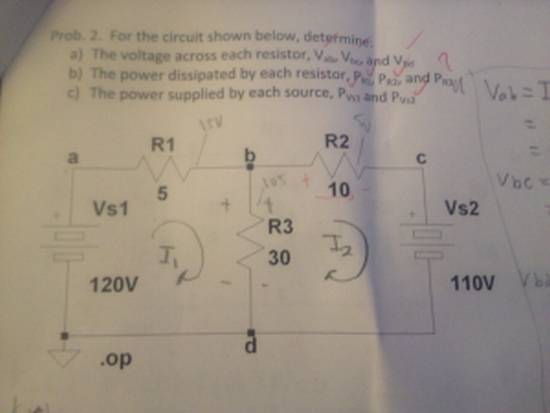 For the circuit shown below determine: The voltage