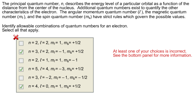 The principal quantum number, n, describes the ene